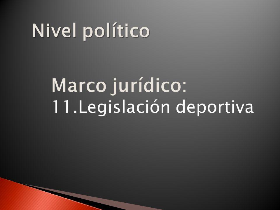 Nivel político Marco jurídico: Legislación deportiva