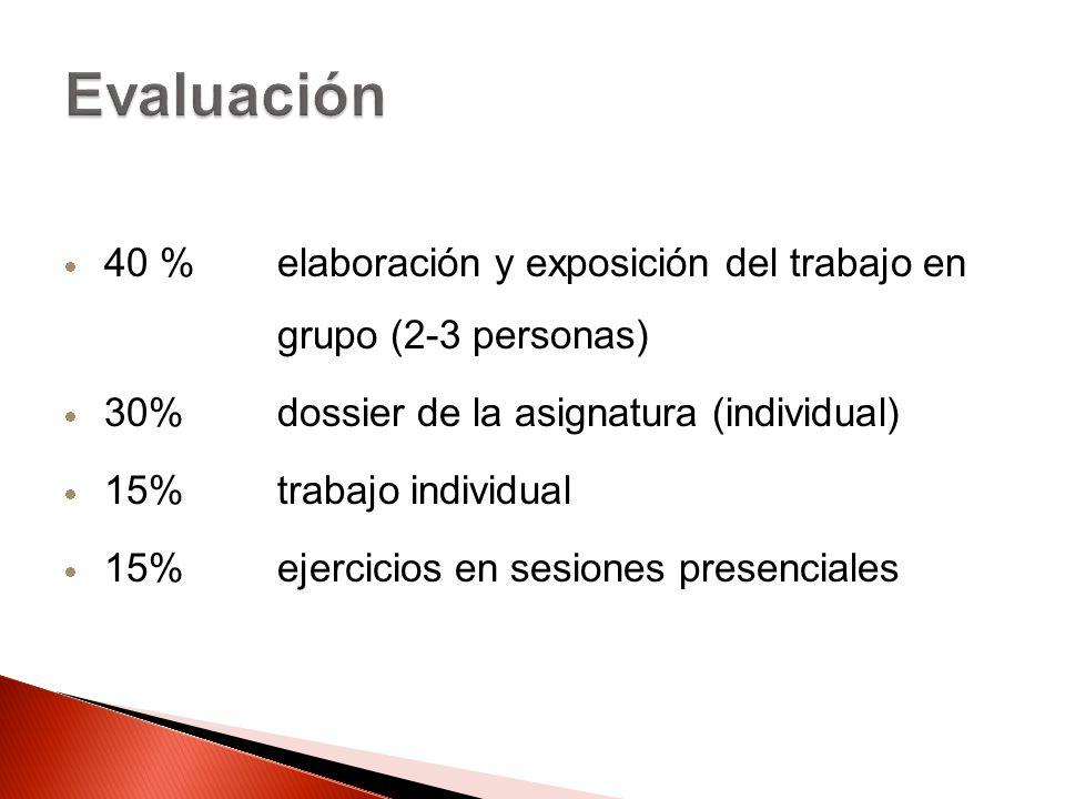 Evaluación 40 % elaboración y exposición del trabajo en grupo (2-3 personas) 30% dossier de la asignatura (individual)