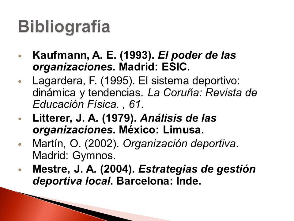 Bibliografía Kaufmann, A. E. (1993). El poder de las organizaciones. Madrid: ESIC.