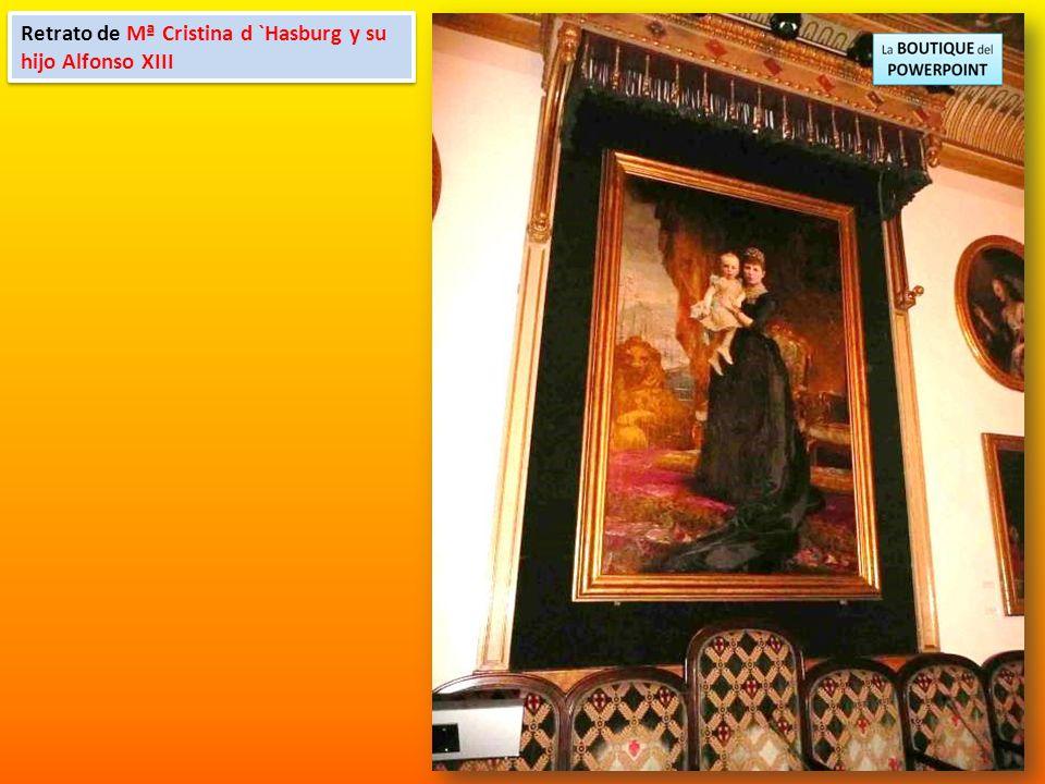 Retrato de Mª Cristina d `Hasburg y su hijo Alfonso XIII