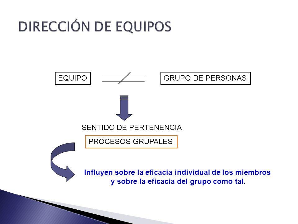 DIRECCIÓN DE EQUIPOS EQUIPO GRUPO DE PERSONAS SENTIDO DE PERTENENCIA