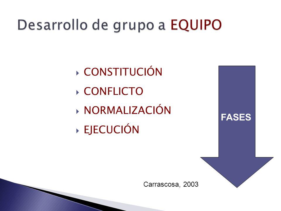 Desarrollo de grupo a EQUIPO