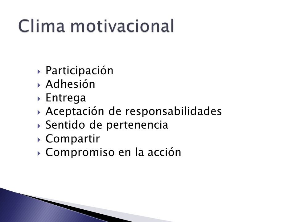 Clima motivacional Participación Adhesión Entrega