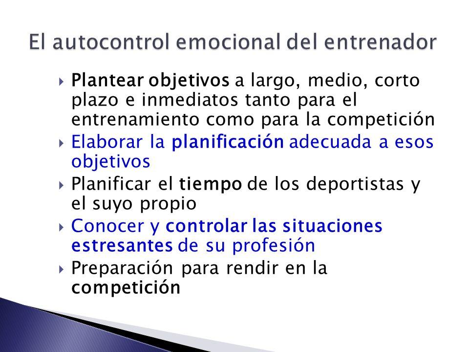 El autocontrol emocional del entrenador