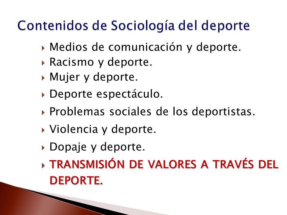 Contenidos de Sociología del deporte