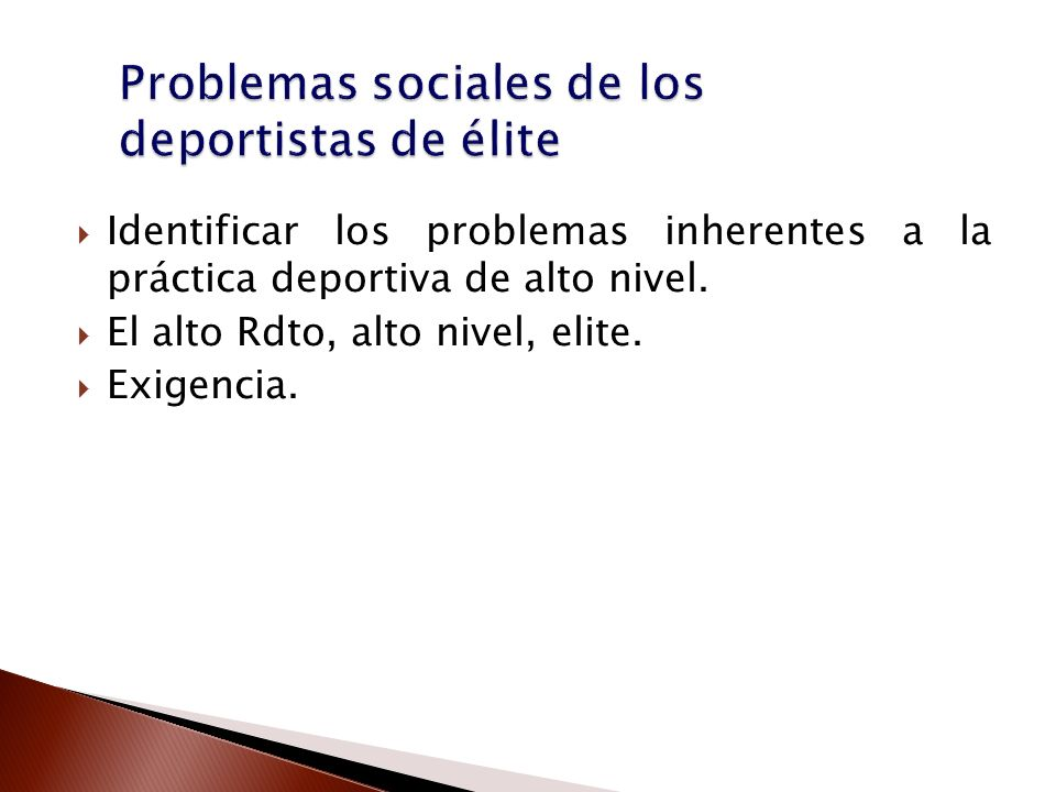 Problemas sociales de los deportistas de élite