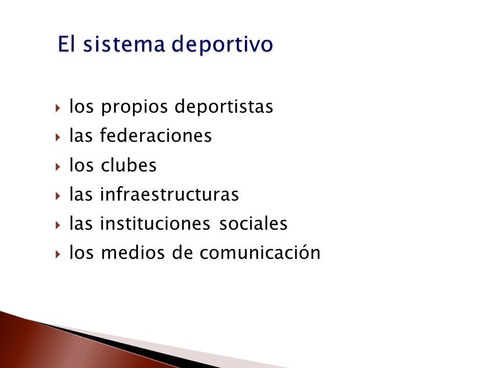 El sistema deportivo los propios deportistas las federaciones