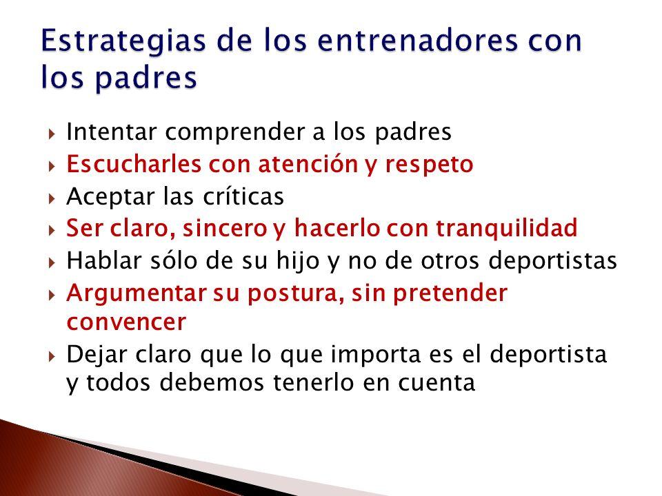 Estrategias de los entrenadores con los padres