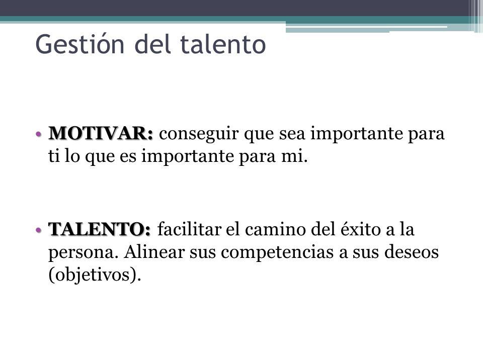 Gestión del talentoMOTIVAR: conseguir que sea importante para ti lo que es importante para mi.