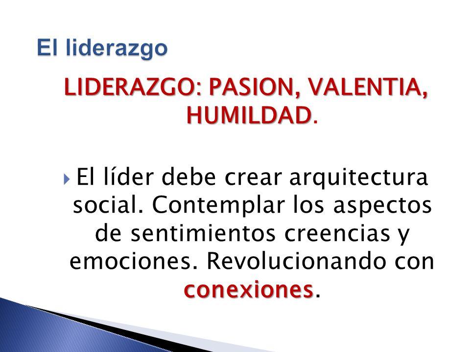 LIDERAZGO: PASION, VALENTIA, HUMILDAD.