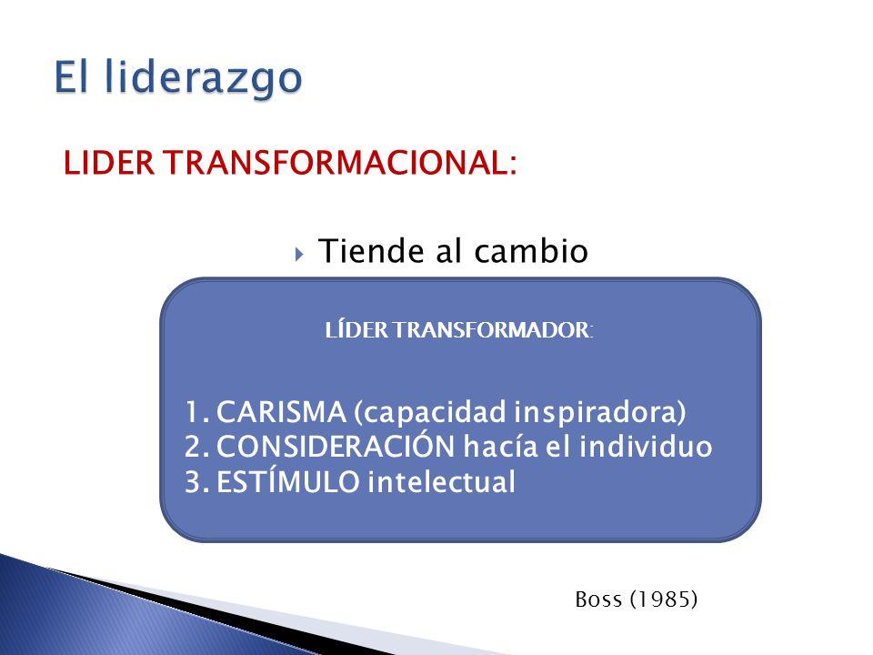 El liderazgo LIDER TRANSFORMACIONAL: Tiende al cambio