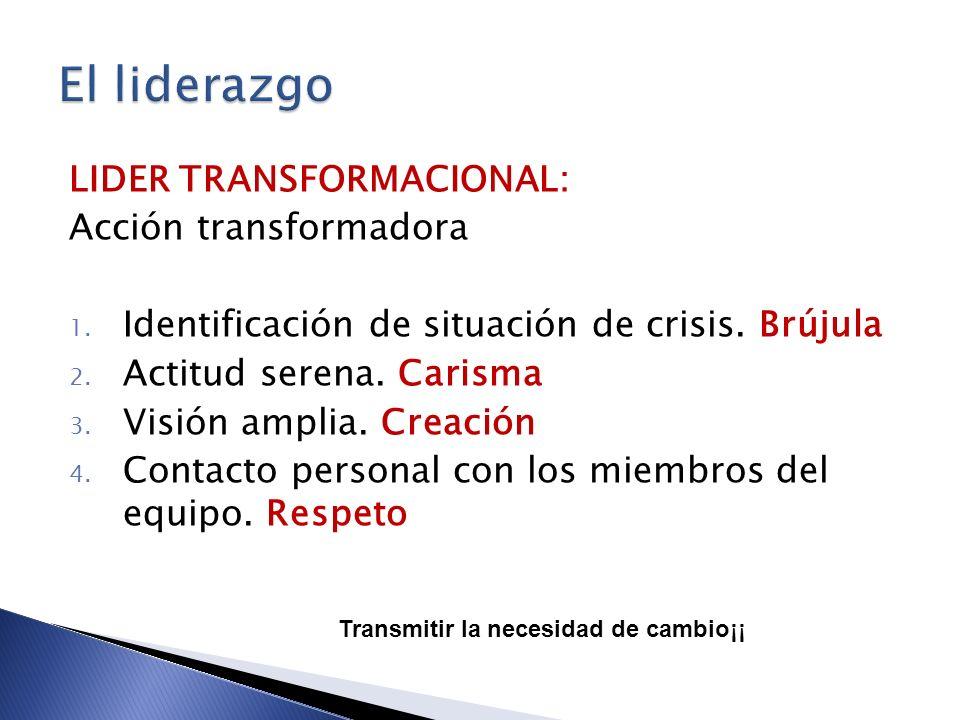 El liderazgo LIDER TRANSFORMACIONAL: Acción transformadora