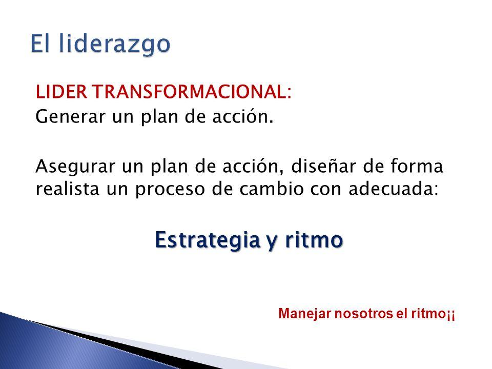 El liderazgo Estrategia y ritmo LIDER TRANSFORMACIONAL: