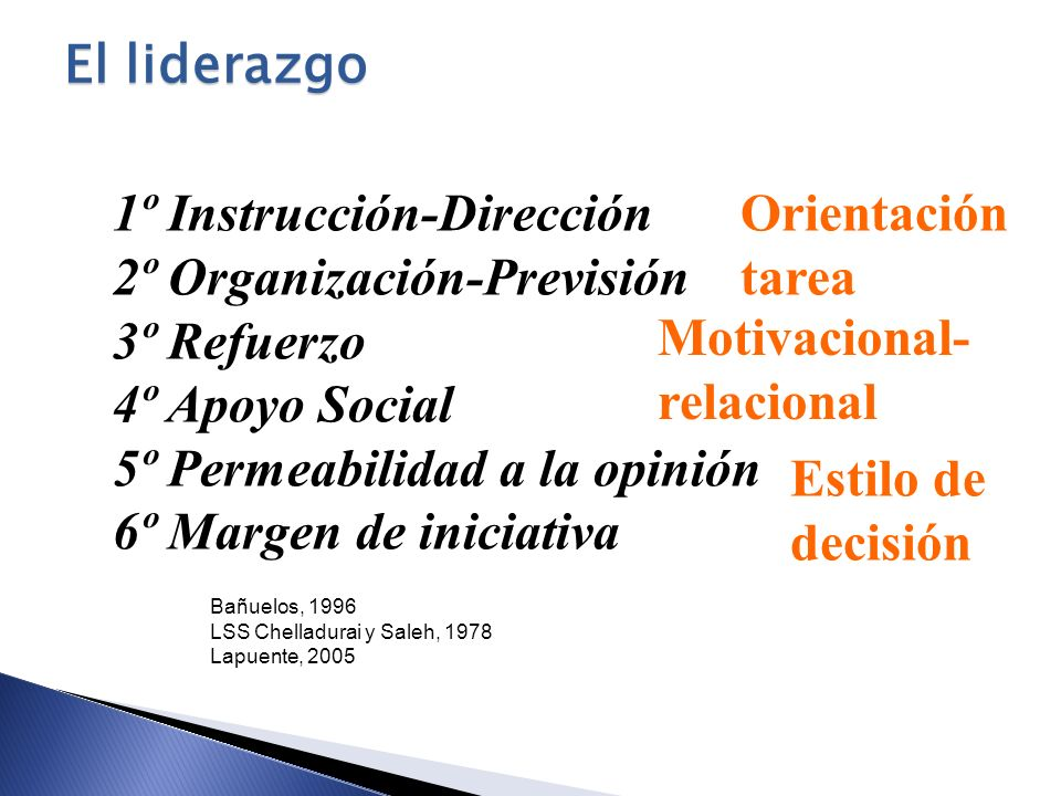 1º Instrucción-Dirección 2º Organización-Previsión 3º Refuerzo