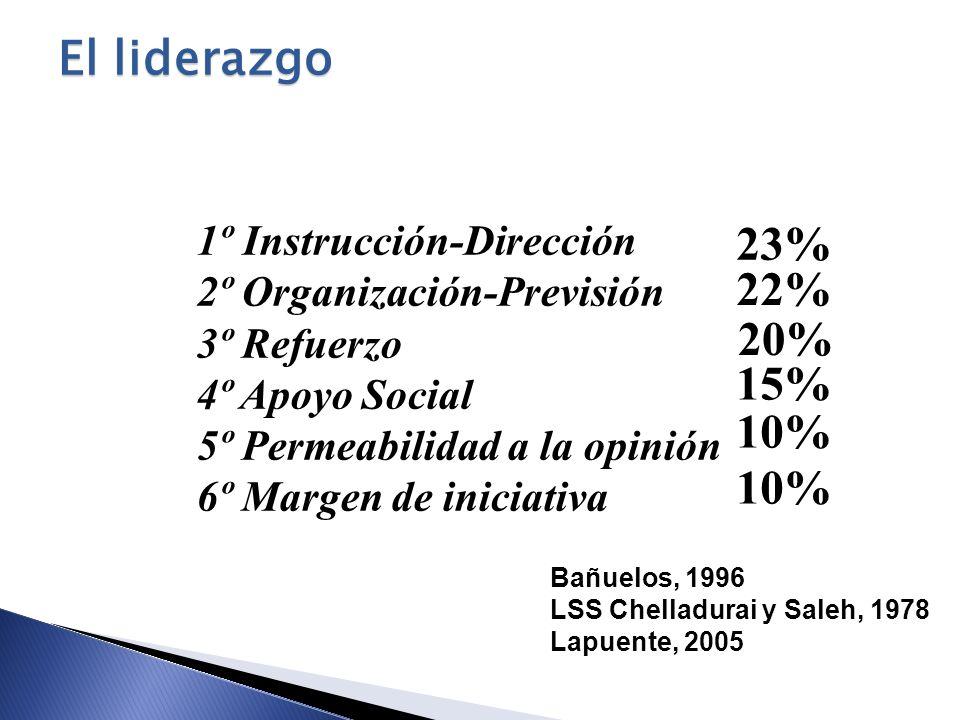 El liderazgo 23% 22% 20% 15% 10% 10% 1º Instrucción-Dirección