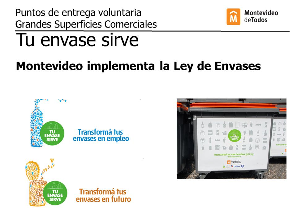 Tu envase sirve Montevideo implementa la Ley de Envases