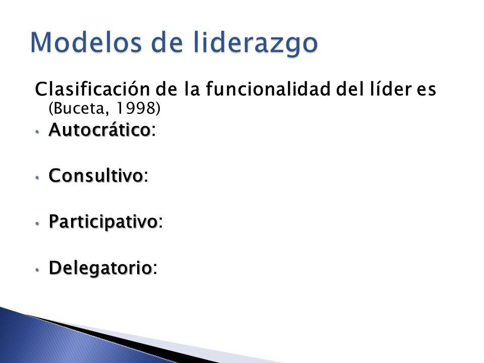 Modelos de liderazgoClasificación de la funcionalidad del líder es (Buceta, 1998) Autocrático: Consultivo: