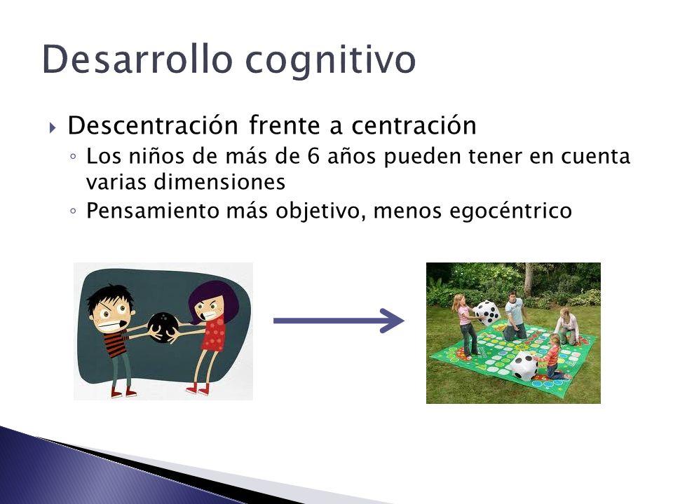 Desarrollo cognitivo Descentración frente a centración