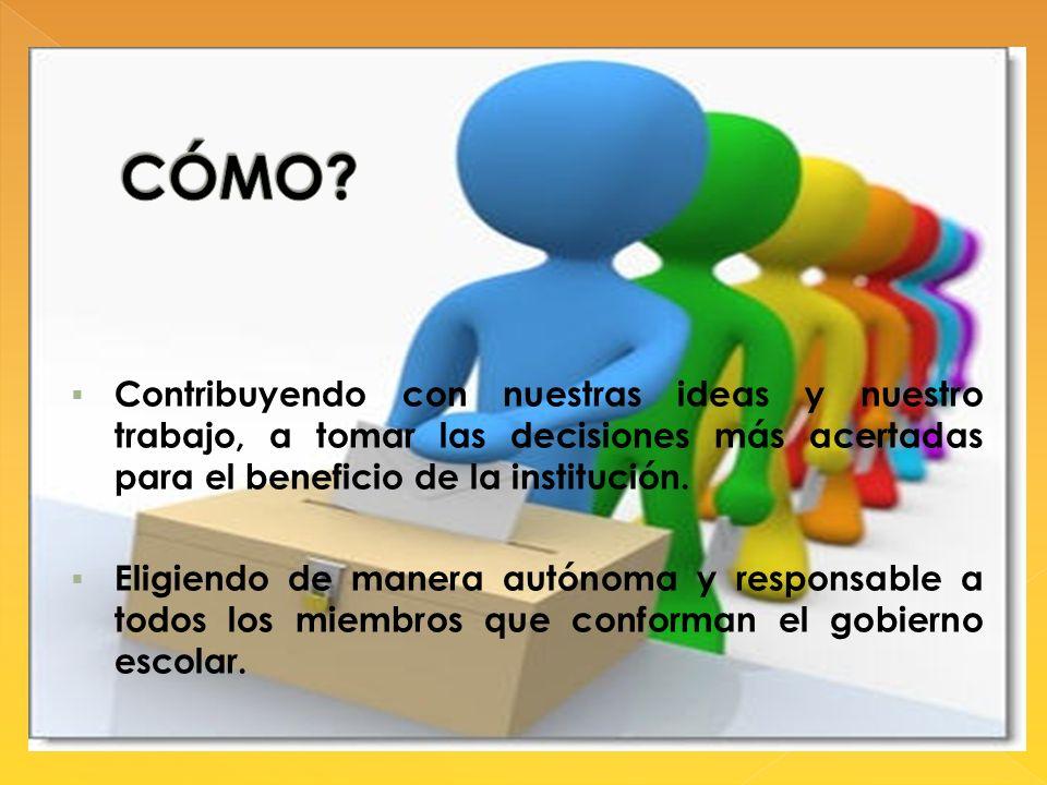 CÓMO Contribuyendo con nuestras ideas y nuestro trabajo, a tomar las decisiones más acertadas para el beneficio de la institución.