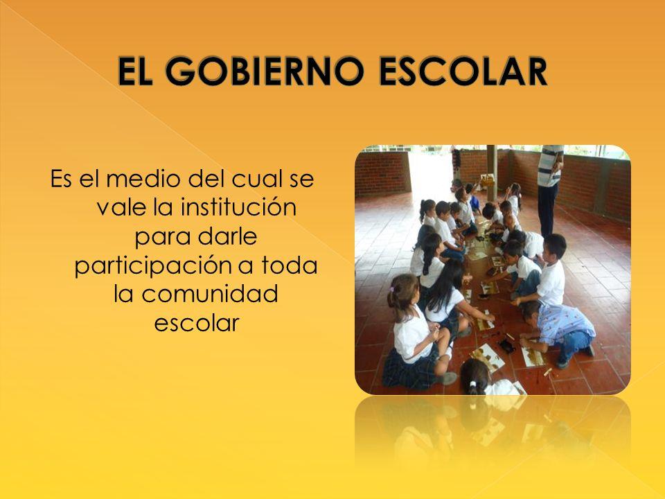 EL GOBIERNO ESCOLAR Es el medio del cual se vale la institución para darle participación a toda la comunidad escolar.