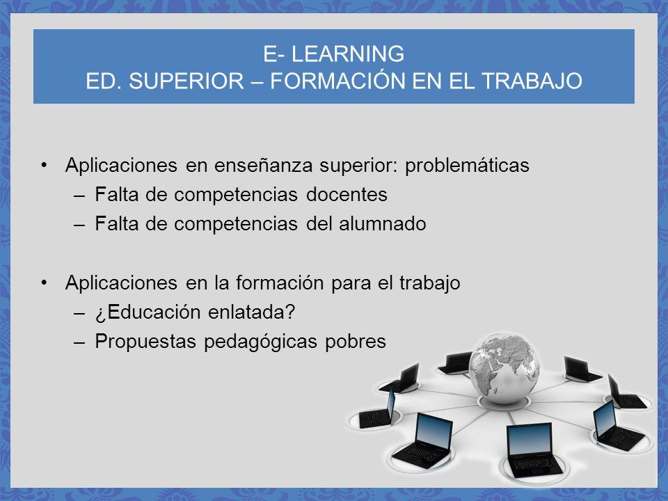 E- LEARNING ED. SUPERIOR – FORMACIÓN EN EL TRABAJO