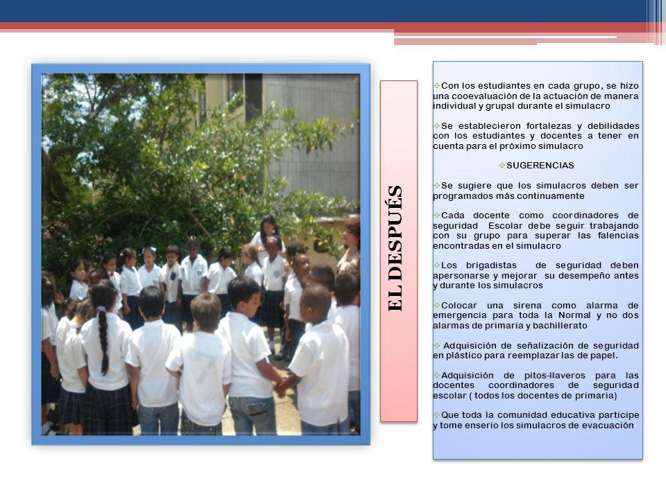 Con los estudiantes en cada grupo, se hizo una cooevaluación de la actuación de manera individual y grupal durante el simulacro