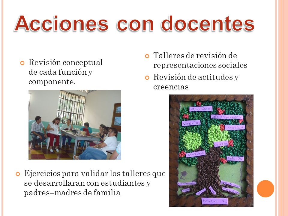 Acciones con docentes Talleres de revisión de representaciones sociales. Revisión de actitudes y creencias.