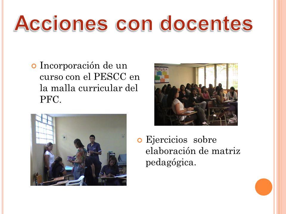 Acciones con docentes Incorporación de un curso con el PESCC en la malla curricular del PFC.