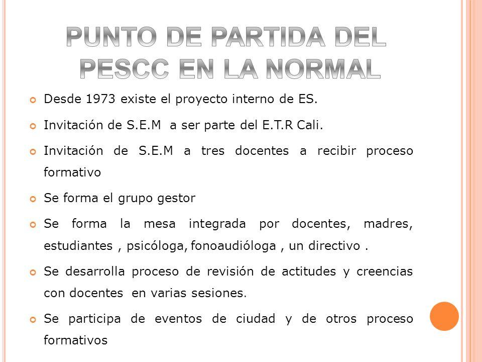 PUNTO DE PARTIDA DEL PESCC EN LA NORMAL
