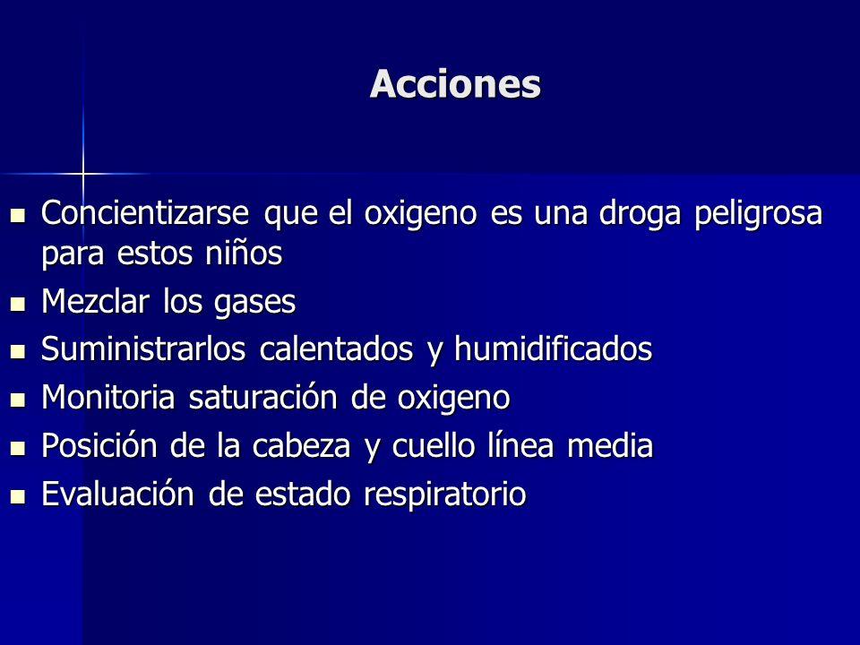 AccionesConcientizarse que el oxigeno es una droga peligrosa para estos niños. Mezclar los gases. Suministrarlos calentados y humidificados.