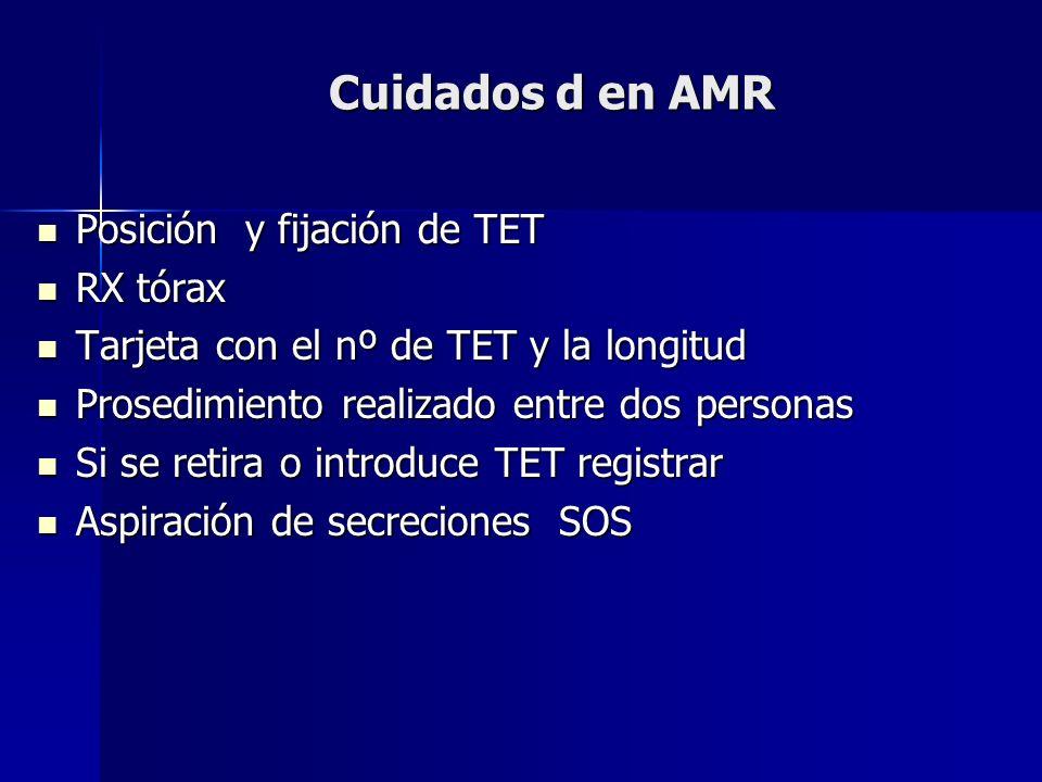 Cuidados d en AMR Posición y fijación de TET RX tórax