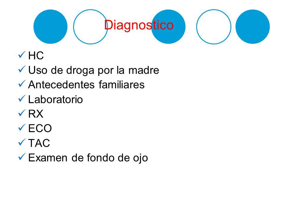 Diagnostico HC Uso de droga por la madre Antecedentes familiares