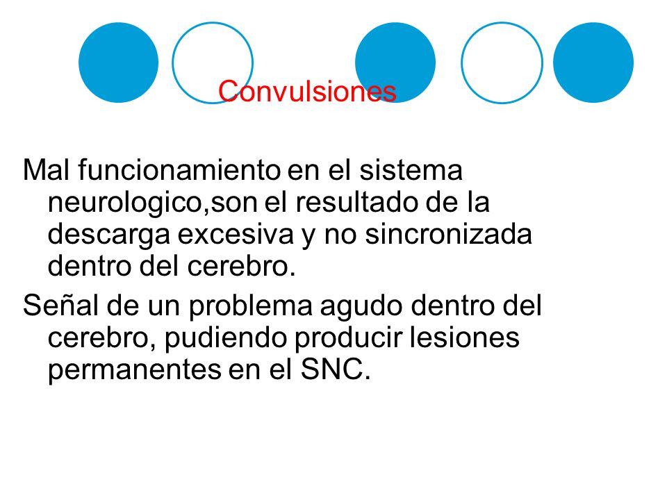 Convulsiones Mal funcionamiento en el sistema neurologico,son el resultado de la descarga excesiva y no sincronizada dentro del cerebro.