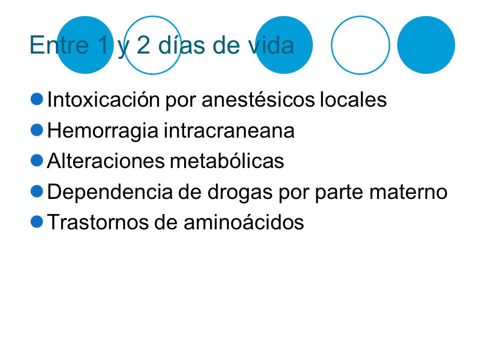 Entre 1 y 2 días de vida Intoxicación por anestésicos locales