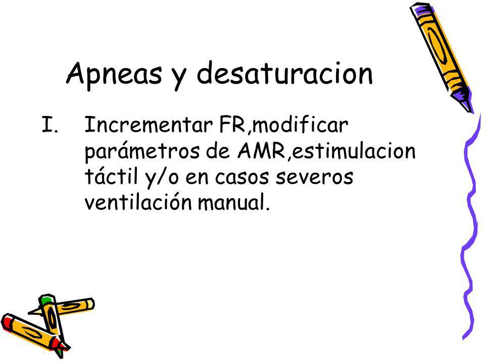 Apneas y desaturacion Incrementar FR,modificar parámetros de AMR,estimulacion táctil y/o en casos severos ventilación manual.