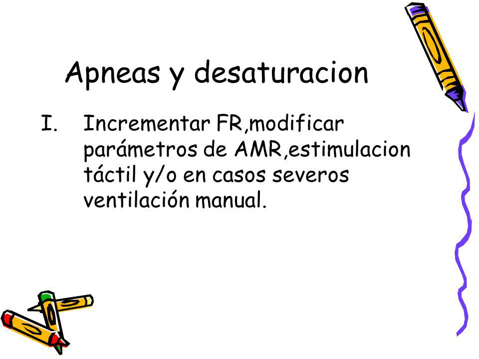 Apneas y desaturacionIncrementar FR,modificar parámetros de AMR,estimulacion táctil y/o en casos severos ventilación manual.