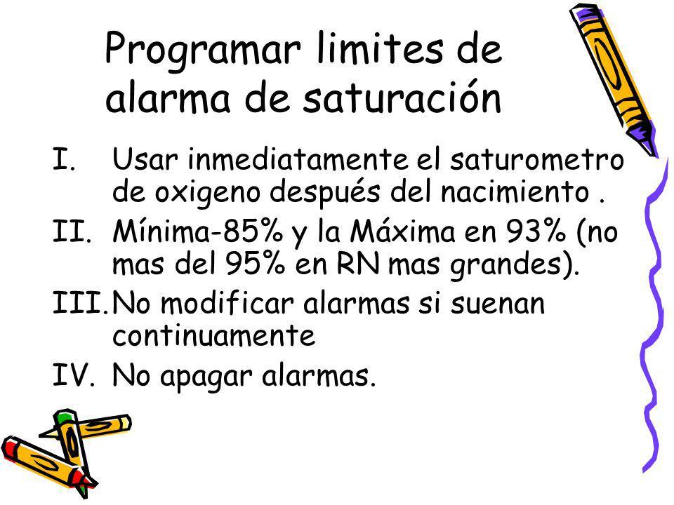 Programar limites de alarma de saturación