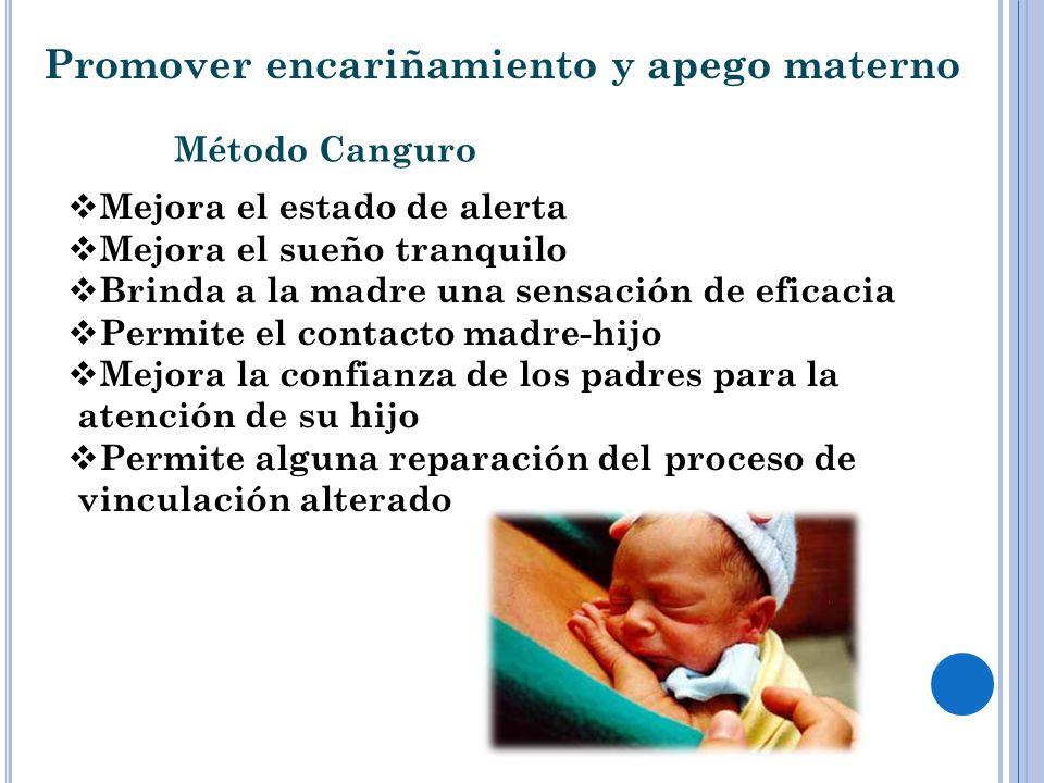 Promover encariñamiento y apego materno