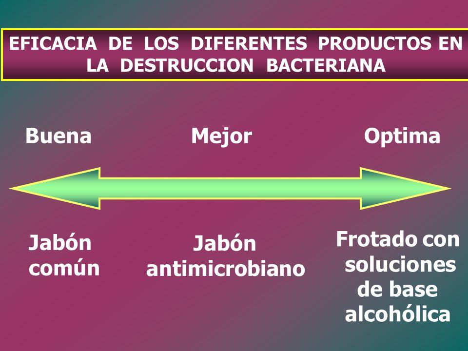 EFICACIA DE LOS DIFERENTES PRODUCTOS EN LA DESTRUCCION BACTERIANA