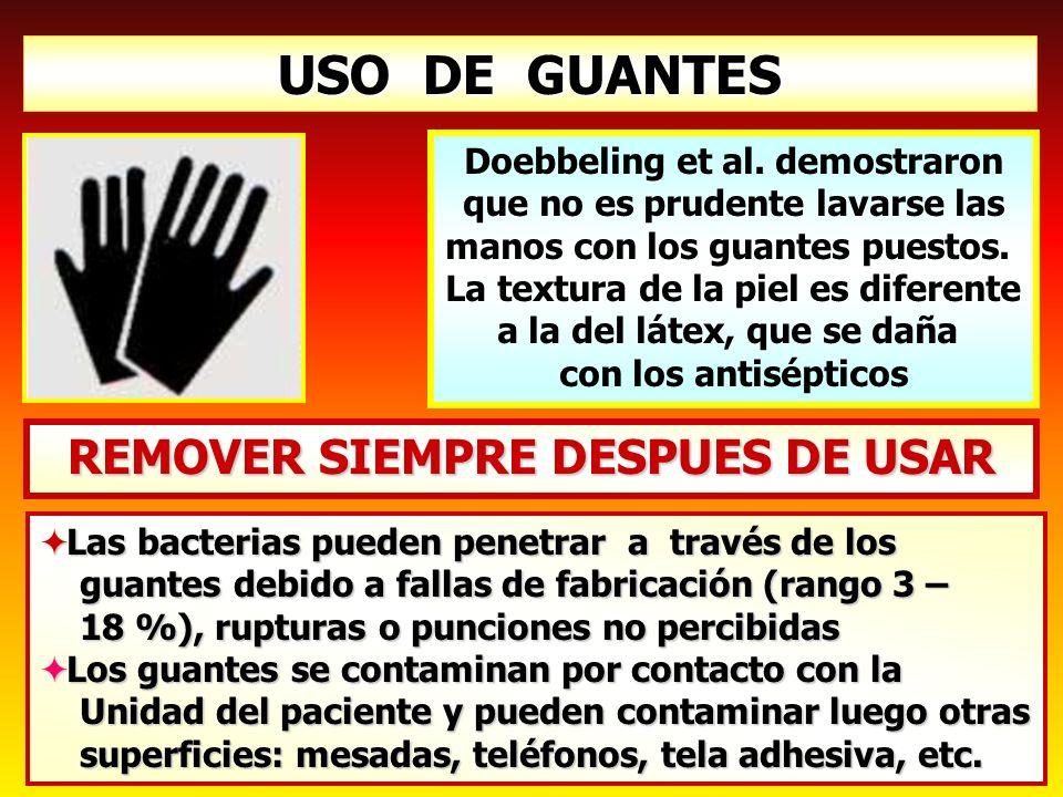 USO DE GUANTES REMOVER SIEMPRE DESPUES DE USAR