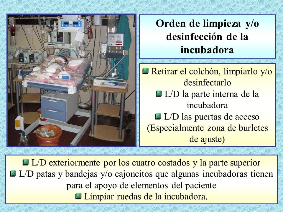 desinfección de la incubadora
