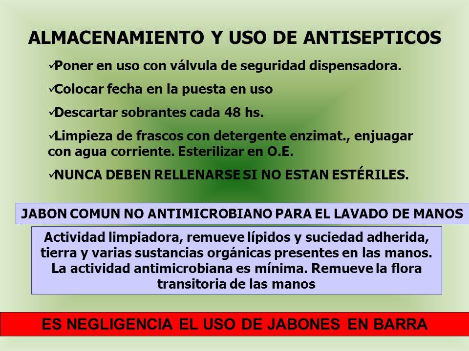 ALMACENAMIENTO Y USO DE ANTISEPTICOS