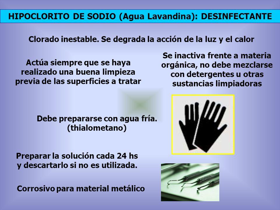 HIPOCLORITO DE SODIO (Agua Lavandina): DESINFECTANTE