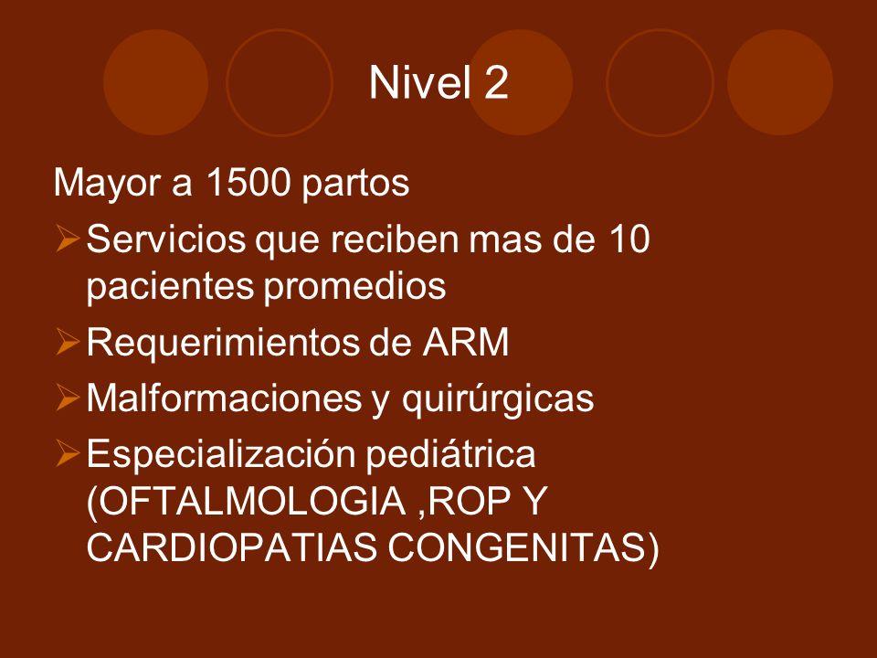 Nivel 2 Mayor a 1500 partos. Servicios que reciben mas de 10 pacientes promedios. Requerimientos de ARM.