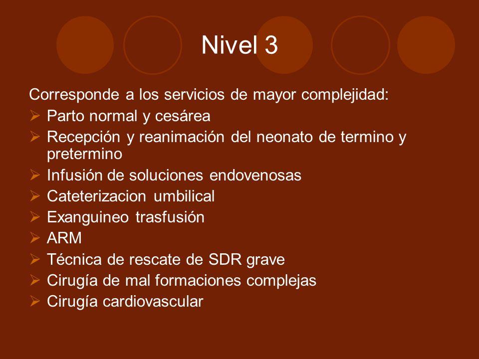 Nivel 3 Corresponde a los servicios de mayor complejidad: