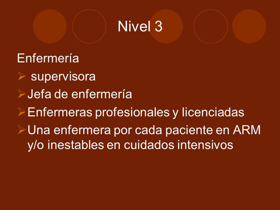 Nivel 3 Enfermería supervisora Jefa de enfermería