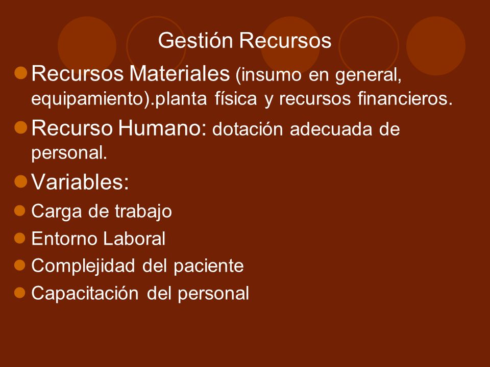 Recurso Humano: dotación adecuada de personal. Variables: