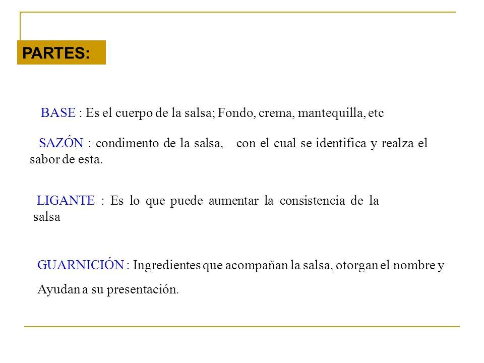 PARTES: BASE : Es el cuerpo de la salsa; Fondo, crema, mantequilla, etc.