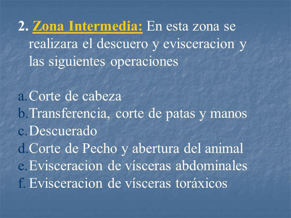 Zona Intermedia: En esta zona se realizara el descuero y evisceracion y las siguientes operaciones
