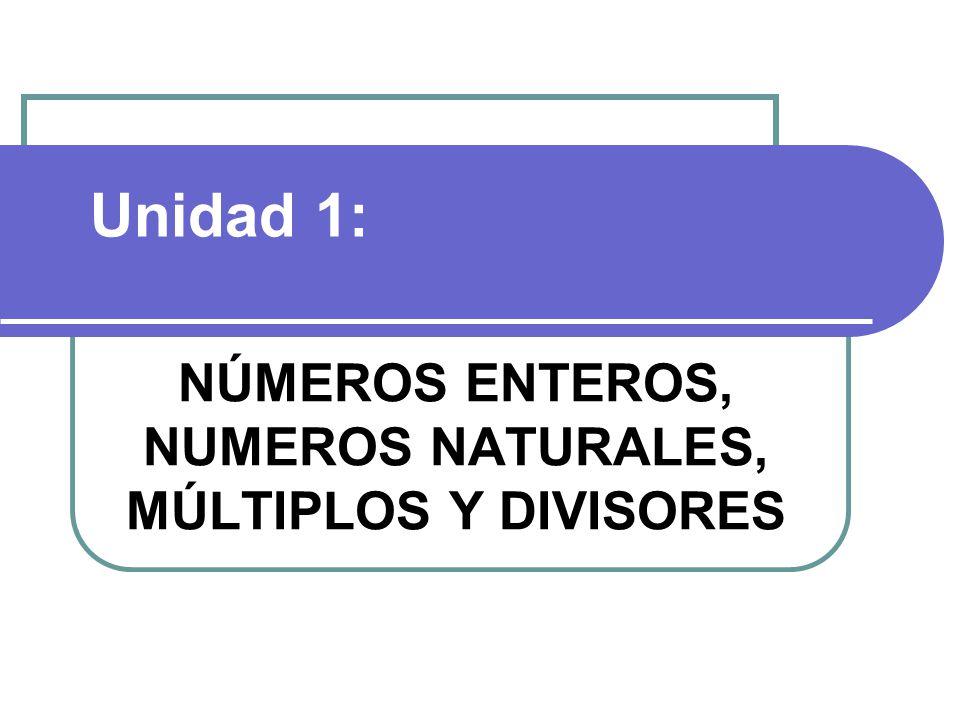 NÚMEROS ENTEROS, NUMEROS NATURALES, MÚLTIPLOS Y DIVISORES